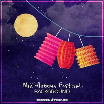 Fond bleu foncé, festival de mi-automne