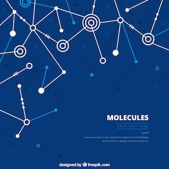 Fond bleu géométrique des molécules