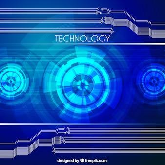 Fond bleu Tech avec des formes abstraites
