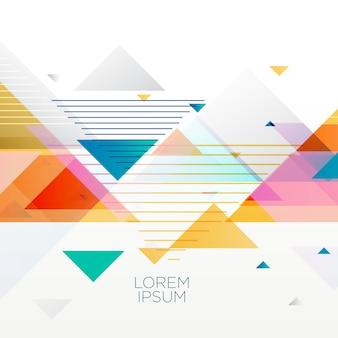 Fond coloré abstrait fait avec des triangles en style memphis