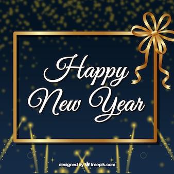 Fond d'année nouvelle avec cadre doré