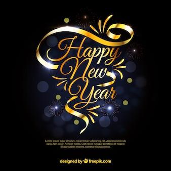 Fond d'année nouvelle avec ruban d'or
