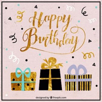 Fond d'anniversaire avec des cadeaux et des détails dorés