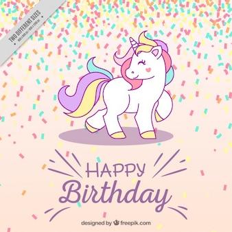 Fond d'anniversaire avec la licorne
