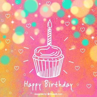 Fond d'anniversaire coloré avec des coeurs et un petit gâteau