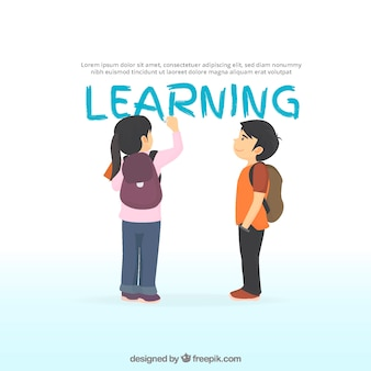 Fond d'apprentissage avec une fille écriture