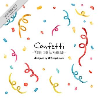 Fond d'aquarelle avec des confettis et serpentins