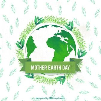 Fond d'aquarelle avec la planète terre et des plantes pour le jour de la terre mère