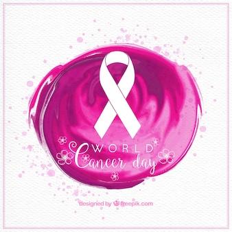 Fond d'aquarelle avec ruban de jour du cancer du monde