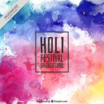 Fond d'aquarelle dans des tons bleus et violets pour festival Holi