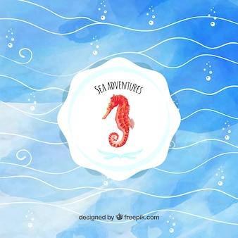 Fond d'aquarelle de mer avec badge d'hippocampes