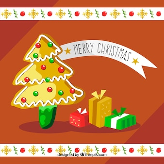 Fond d'arbre de Noël avec des cadeaux