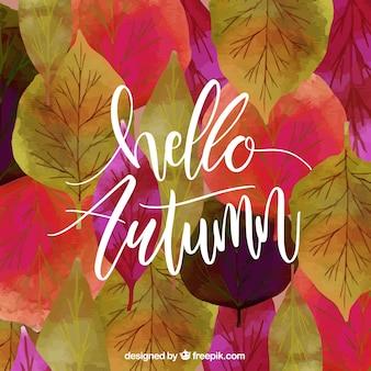 Fond d'automne avec des feuilles d'aquarelle