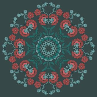 Fond d'écran de broderie florale rond en dentelle