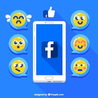 Fond d'écran mobile avec les émoticônes de Facebook en conception plate