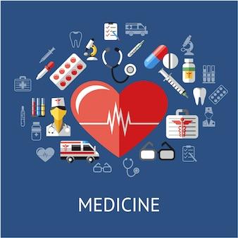 Fond d'éléments médicaux