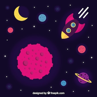 Fond d'espace avec fusée et planètes