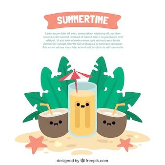 Fond d'été avec des boissons souriantes