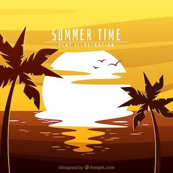 Fond d'été avec soleil et palmiers