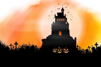Fond d'Halloween sur la texture aquarelle