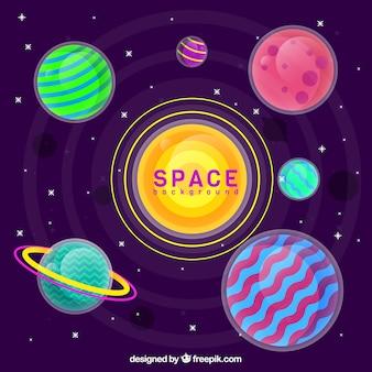 Fond d'univers avec des planètes colorées dans un design plat