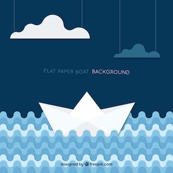 Fond de bateaux en papier avec des ondes géométriques et des nuages