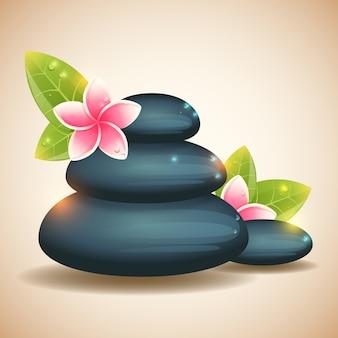 Fond de bien-être avec des pierres