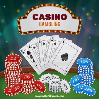 Fond de casino avec éléments de jeu
