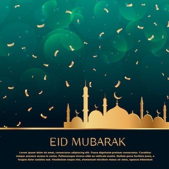 Fond de célébration du festival eid avec des confettis dorés