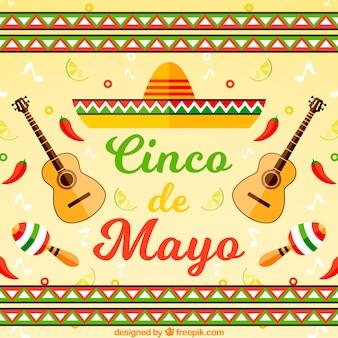 Fond de chapeau mexicain avec des guitares