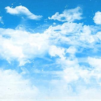 Fond de ciel bleu avec des nuages blancs moelleux