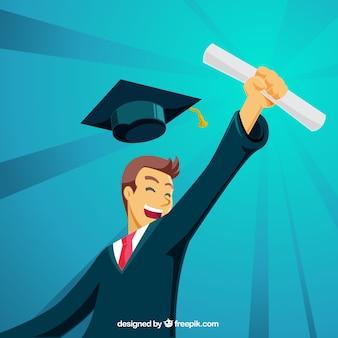 Fond de diplôme avec étudiant heureux