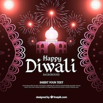 Fond de Diwali avec feux d'artifice