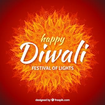 Fond de Diwali avec mandala d'aquarelle