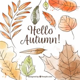 Fond de feuilles d'aquarelle automne dessinés à la main