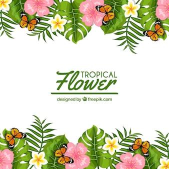 Fond de fleurs avec des papillons
