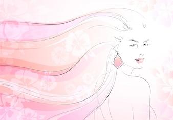 Fond de fleurs douces avec une jeune fille et une longue illustration vectorielle de cheveux ondulés