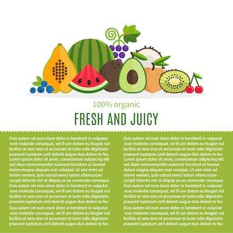 Fond de fruits frais avec modèle de texte