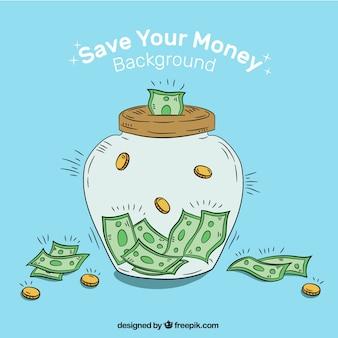 Fond de jarre tiré à la main avec des billets de banque et des pièces de monnaie