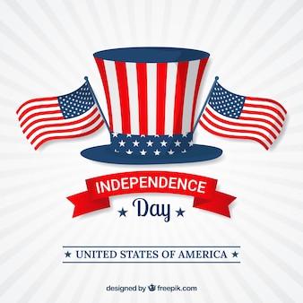 Fond de l'indépendance avec chapeau et drapeaux