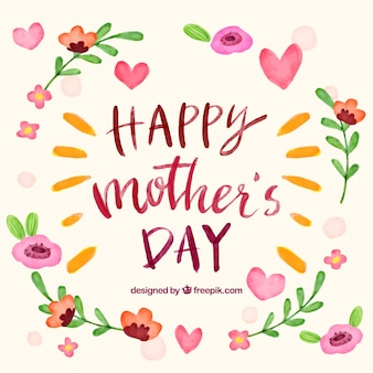 Fond de la fête des mères avec des fleurs d'aquarelle