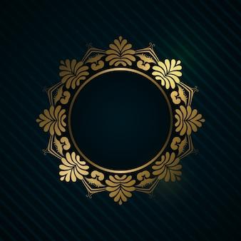 Fond de luxe avec cadre en or décoratif