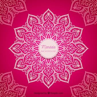 Fond de mandala dessiné à la main rose