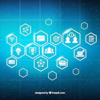 Fond de marketing numérique avec des icônes brillantes
