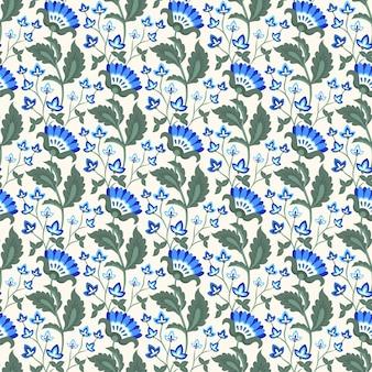 Fond de motif de fleurs bleues