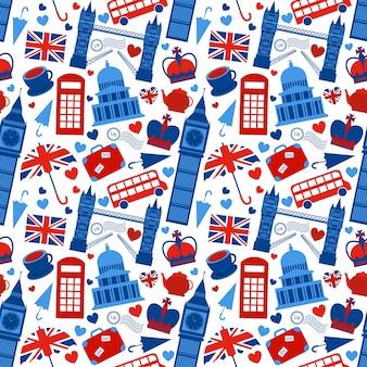 Fond de motif sans couture avec les points de repère de Londres et l'illustration vectorielle des symboles de la Grande-Bretagne