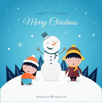 Fond de Noël avec bonhomme de neige Joyeux et les enfants