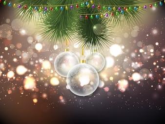 Fond de Noël avec des boules brillant de cristal