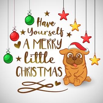 Fond de Noël avec petit chien Carlin et décorations