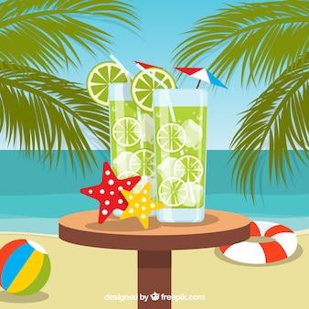 Fond de plage avec mojitos